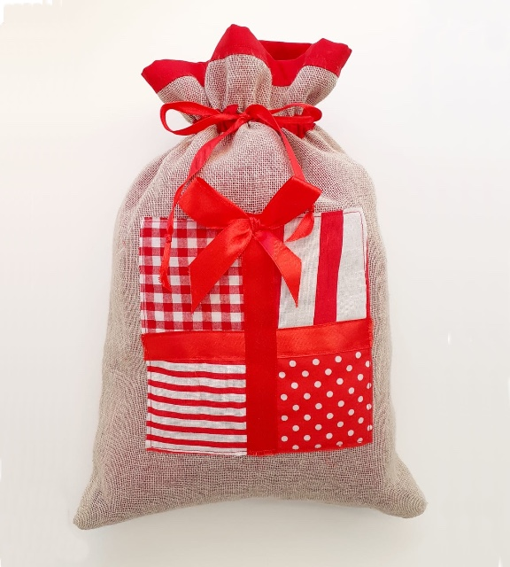 Vintage Christmas Lined Gift Bag